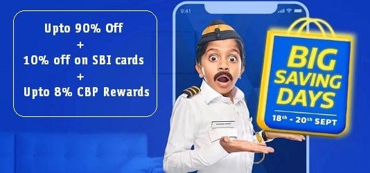 Upto 90% off + 10% Instant Discount on SBI Cards Big Saving Days