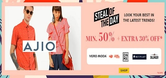 Ajio offers Minimum 50% off + Extra 30% Off