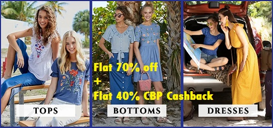 Flat 70% off on Dresses, Tops, Bottom