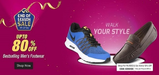 Upto 80% off on footwear end of season sale